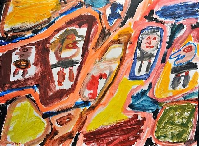 Jean Dubuffet, Site avec 4 Personnages 50x67 cm, acrylique sur papier (1961)