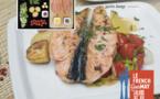 Darnes de saumon au poivre rose et petits légumes